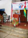 Lara giving her first speech in Anufo, Togo, West Africa