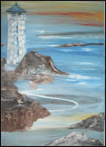 """Seascape & Lighthouse""; c. J2013. Jane H. Johann"