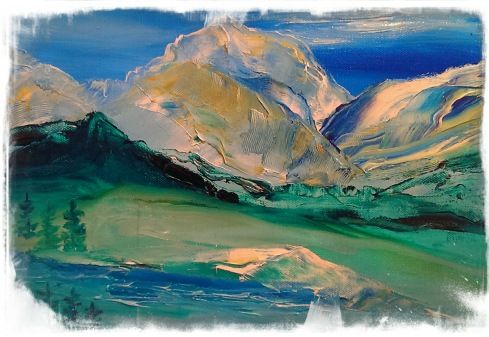 Impressionistic Painting of Mountains in Banff, Alberta, Canada c.Jane H. Johann, June, 2014