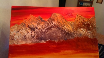 "Beginning of the ""Three Sisters"" oil painting; August, 2014"