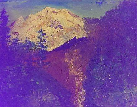"""Mt. Kulshan"" Oil painting original by Jane H. Johann c.January, 2016."