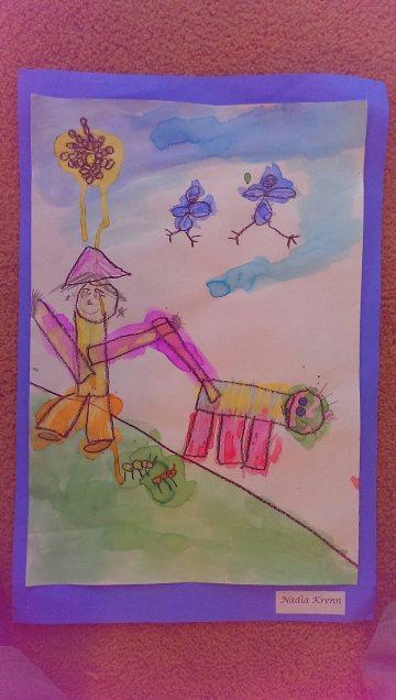Waterolor Painting  by                      Nadia J. Krenn.                                             September, 2014. Kindergarten.