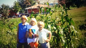 My daughters, 1996, Sara, Annie and Lara, standing by the little garden they planted.